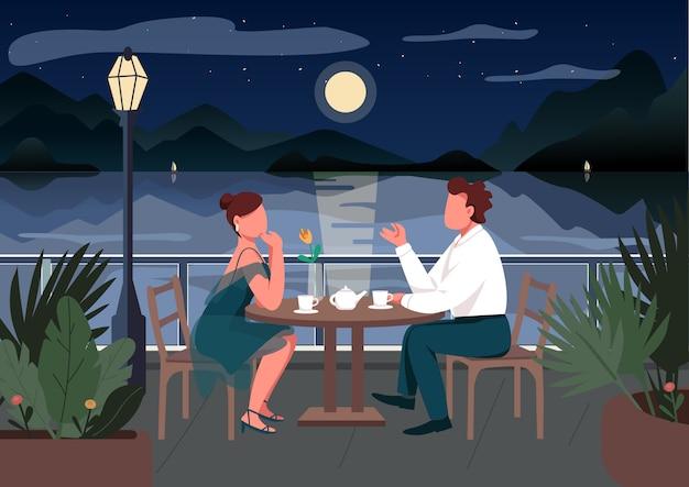 Romantic date in seaside resort town  color  illustration