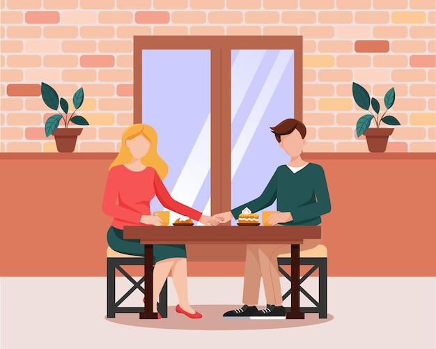 Романтическое свидание. молодая пара в уютном кафе. плоский стиль векторные иллюстрации