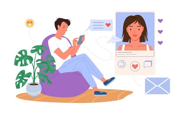 소셜 미디어 벡터 삽화에서 낭만적인 데이트 대화. 흰색으로 격리된 아름다운 소녀에게 사랑의 메시지를 보내기 위해 온라인 채팅 앱을 사용하여 전화를 들고 있는 만화 젊은 연인 남자 캐릭터