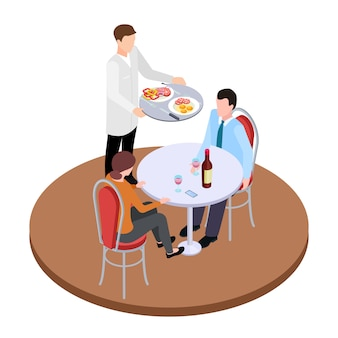 Romantic dating in restaurant isometric vector illustration