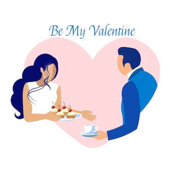 Romantic dating on valentines day invitation card