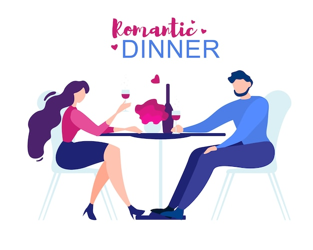 Romantic dinner cartoon man woman restaurant table