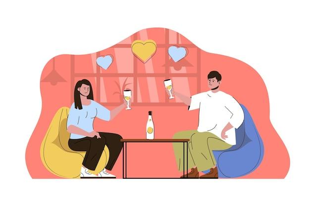 레스토랑에서 데이트하는 낭만적인 저녁 식사 개념 남자와 여자