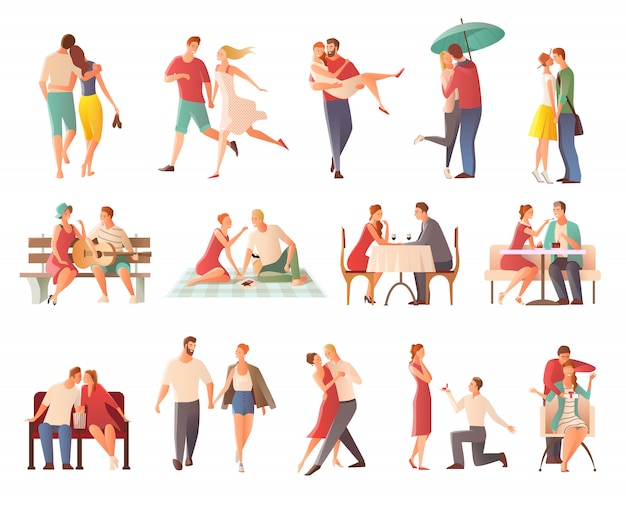 Cena romantica incontri coppie piatto raccolta caratteri isolati con gli amanti baci andando a piedi dando regali