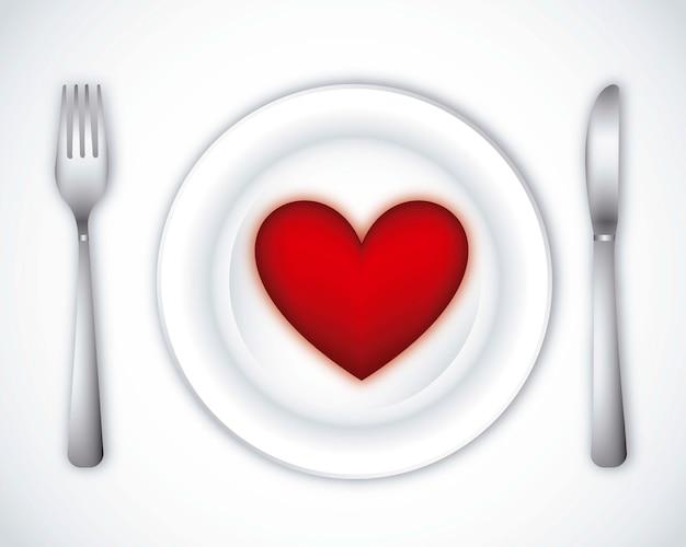 Romantic dinner over gray background vector illustration