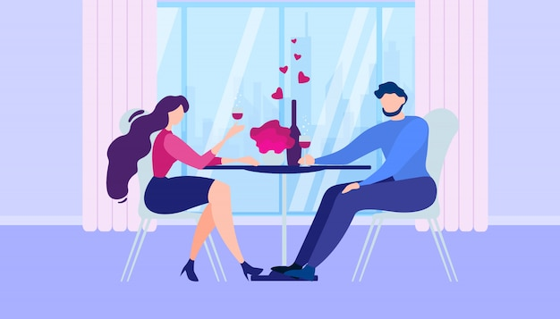Romantic dinner at home cartoon man woman kitchen