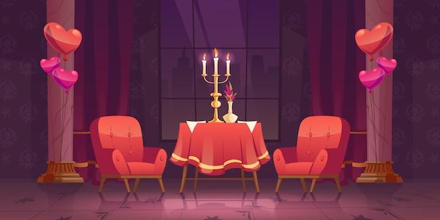 Романтический ужин в ресторане в день святого валентина