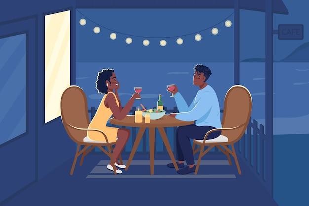 Романтический ужин на открытом воздухе плоские цветные векторные иллюстрации. партнеры проводят время вместе, пьют вино на заднем дворе. парень и подруга 2d героев мультфильмов с приморским пейзажем на фоне