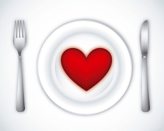 ロマンチックな夕食、灰色の背景、ベクトル、イラスト
