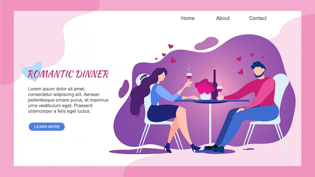 Romantic dinner at restaurant, landing page web template