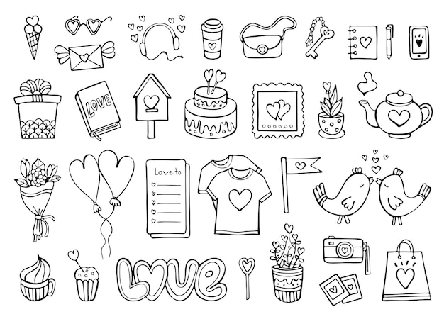 Romantic doodle set love and feelings collection of elements isolated