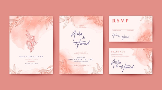 Romantic elegant and beautiful wedding invitation set with maroon background and hand drawn leaves