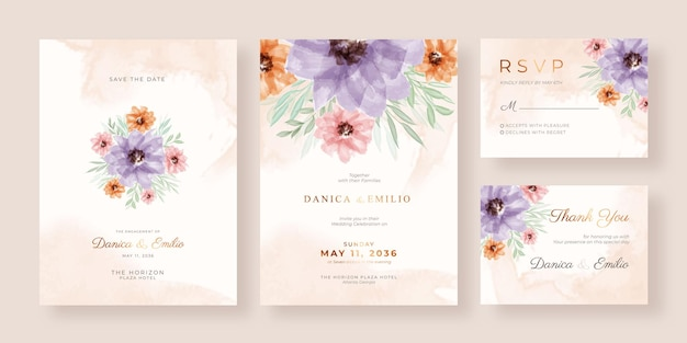 Romantic and elegant watercolor wedding invitation template with beautiful floral