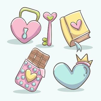 Elementi romantici con libro, chiusura a cuore, tavoletta di cioccolato, chiave a cuore e forma a cuore con corona.