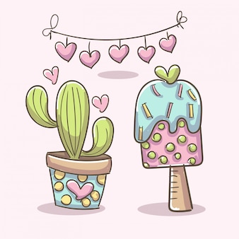 Romantic elements with ice cream and cactus plant