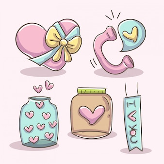 Romantic elements with phone, jar and box heart.