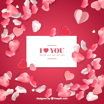 Romantic envelope with petals