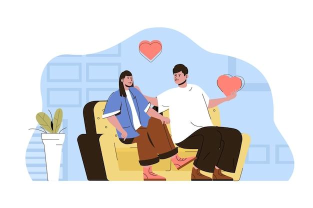 낭만적인 저녁 개념 남자와 여자는 소파에 앉아 회담