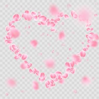Romantic falling flower petals heart shape.