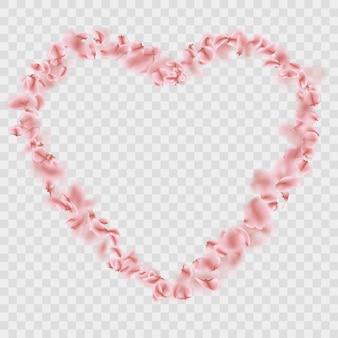 Romantic falling sakura petals heart shape.