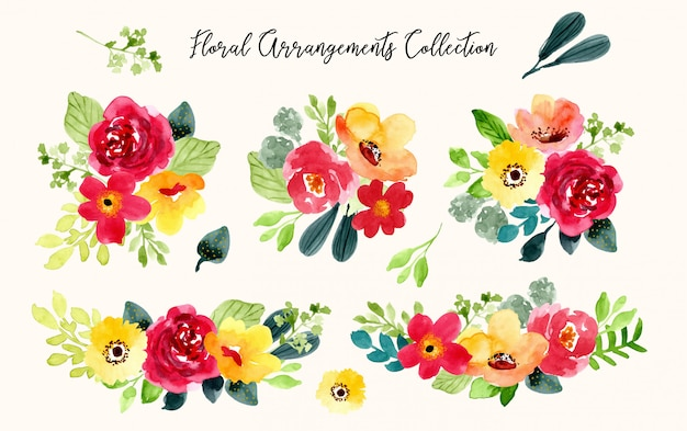 Romantic floral arrangement watercolor collection
