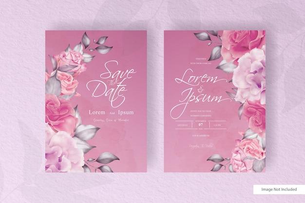 ロマンチックなフラワーアレンジメント結婚式の招待カード