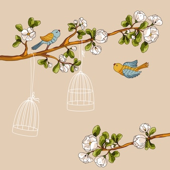 Romantic floral background. birds out of cages. spring birds flying on the branch