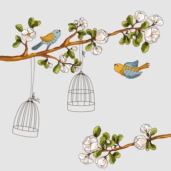 로맨틱 꽃 배경입니다. 새장에서 나온 새. 나뭇가지에 날아가는 봄 새들
