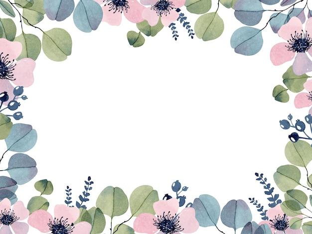 Романтическая цветочная рамка с шаблоном акварели эвкалипта