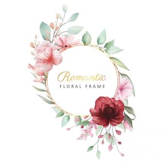 カード構成の装飾的な花とロマンチックな花のフレーム