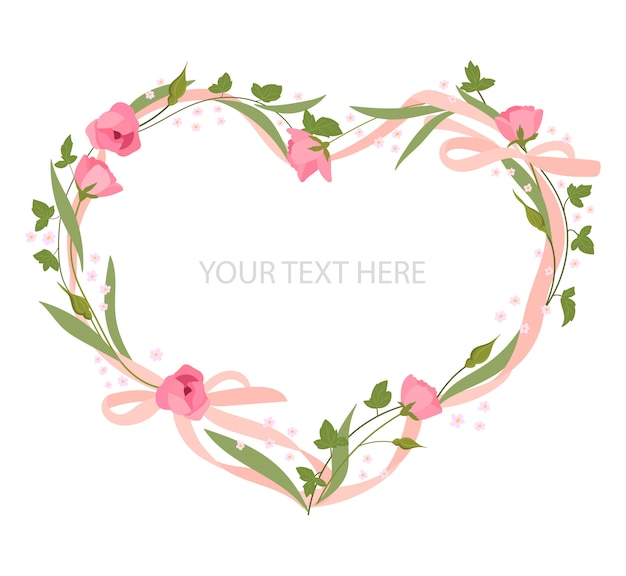 Romantic floral heart shape and pink ribbon