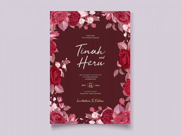 Romantic floral maroon wedding invitation