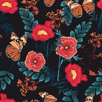 Romantic floral seamless pattern blooming colorful flowers with butterfly botanical garden