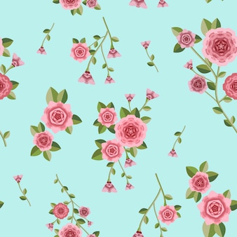 Romantic floral seamless pattern over blue background