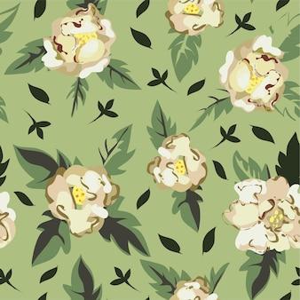 ロマンチックな花柄のシームレスなパターン。緑豊かな葉と花の白い牡丹