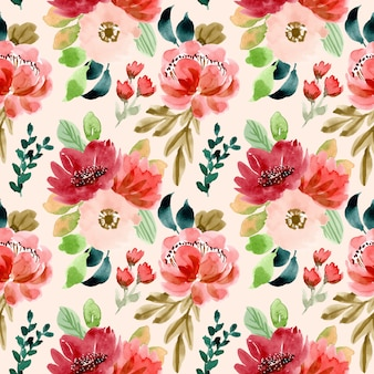Romantic floral watercolor seamless pattern