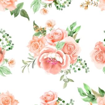 Романтический цветочный акварель бесшовные модели