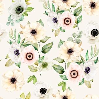 Romantico motivo floreale acquerello senza soluzione di continuità