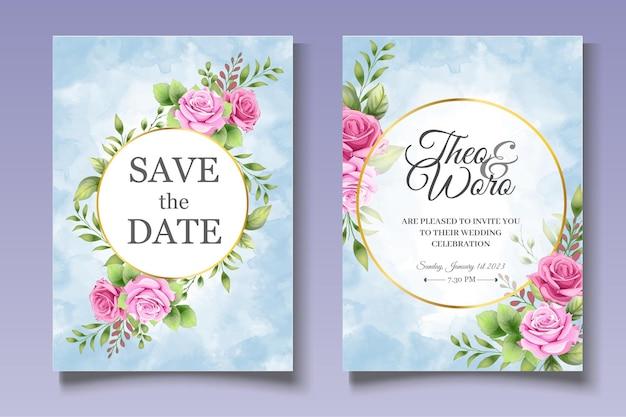 Романтический цветочный набор свадебных открыток