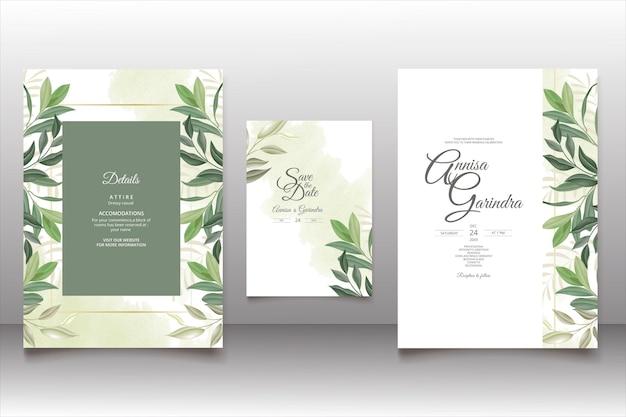 ロマンチックな花の結婚式の招待カードのテンプレート