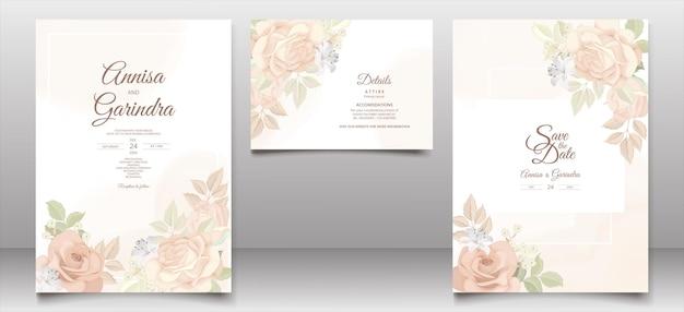ロマンチックな花の結婚式の招待カード