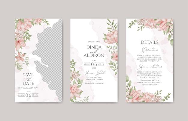 ロマンチックな花の結婚式の招待状のinstagramの物語のテンプレートバンドル