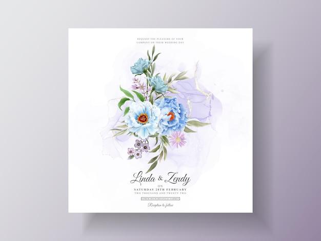 Романтическое цветочное свадебное приглашение Premium векторы