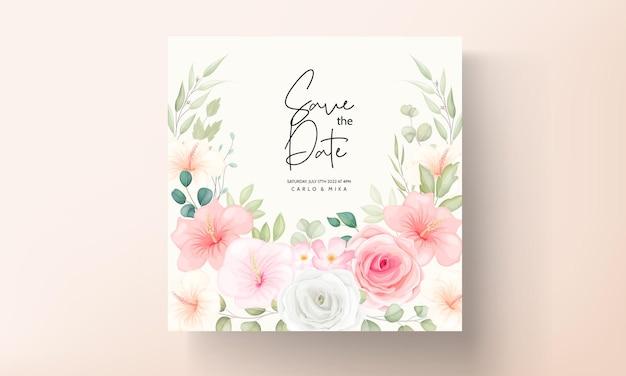 로맨틱 꽃과 잎 결혼식 초대 카드