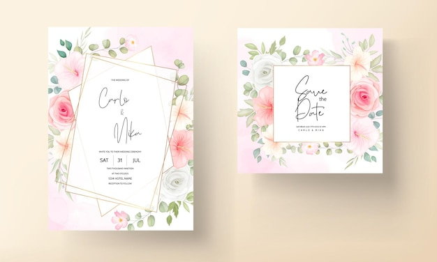 Romantic flower and leaves wedding invitation card set