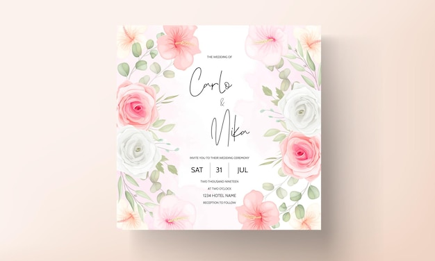 Romantic flower and leaves wedding invitation card