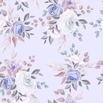 紫色の花の装飾とロマンチックな花のシームレスなパターン
