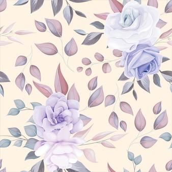 Романтический цветок бесшовные модели с фиолетовым цветочным декором