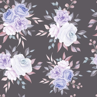 Romantic flower seamless pattern with purple flower decoration