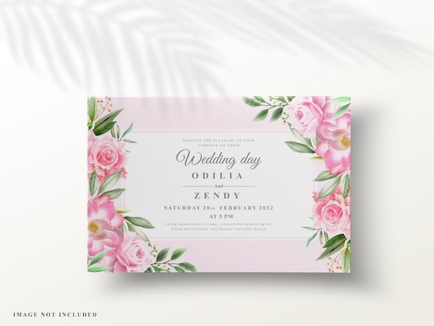 ロマンチックな花の結婚式の招待状